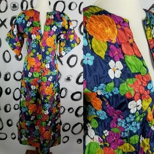 Vintage 70s House Coat Floral Kaftan Hostess Dress